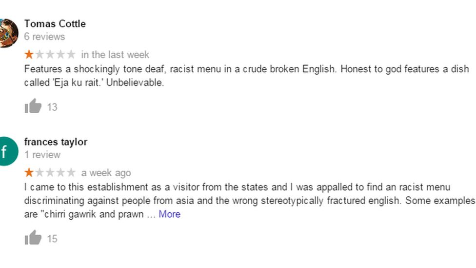 Screenshot of reviews from the restaurant's Google listing