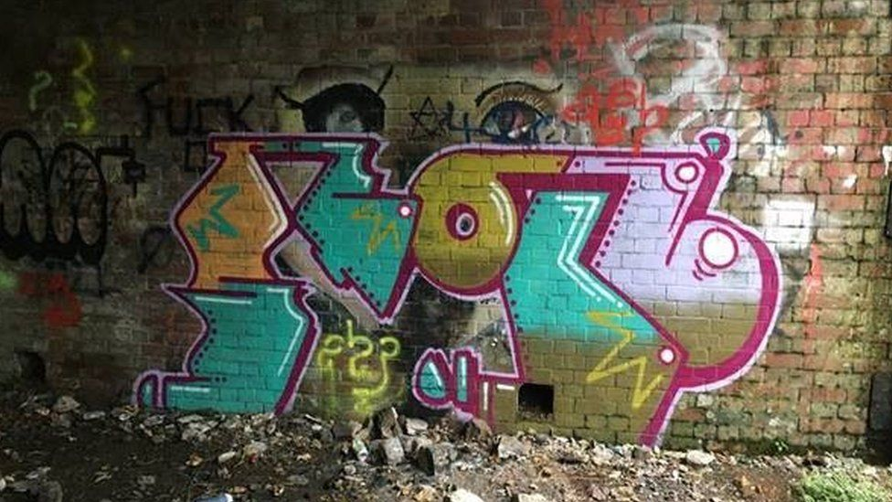Former bomb stores in Pembroke Dock had been defaced with graffiti
