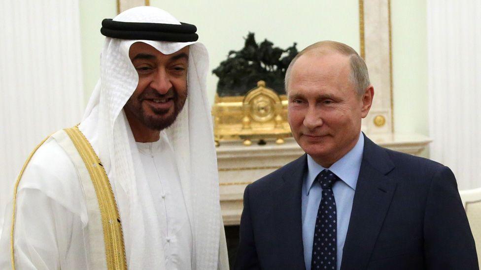 Crown Prince Mohammed bin Zayed al-Nahyan and Russian President Vladimir Putin met in June