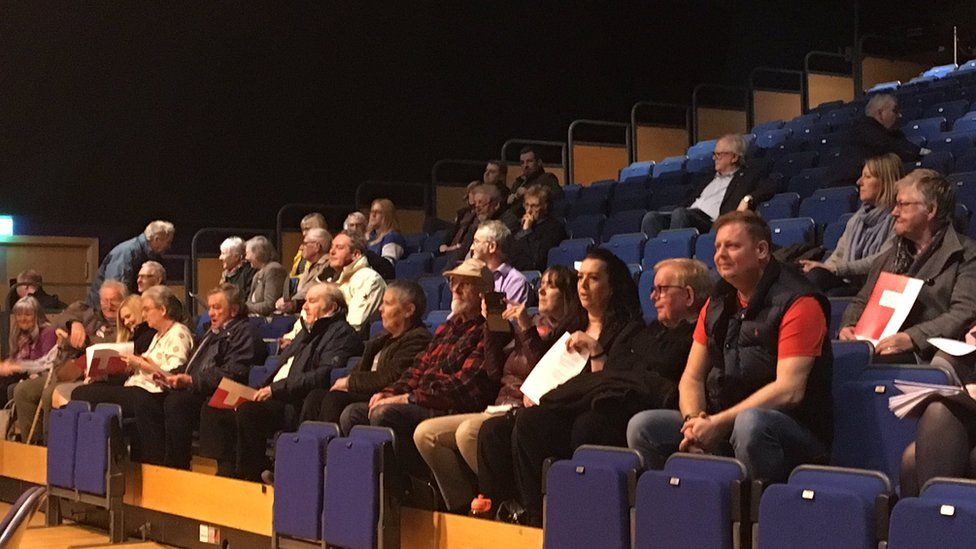 Members of the public watching the meeting on Monday