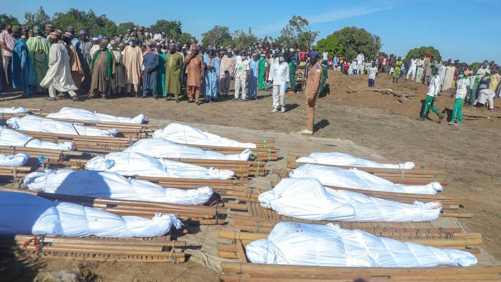 The 43 farmers were buried on Sunday