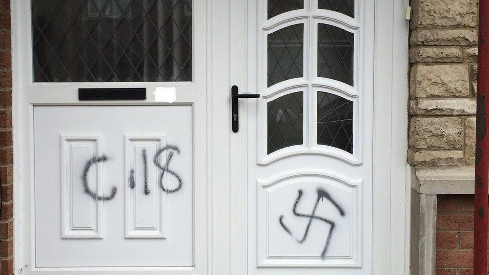 Religiously aggravated graffiti on a door in Northern Ireland