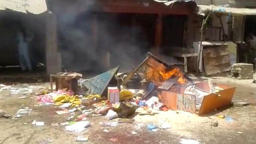 Buildings looted in Mirpur Khas