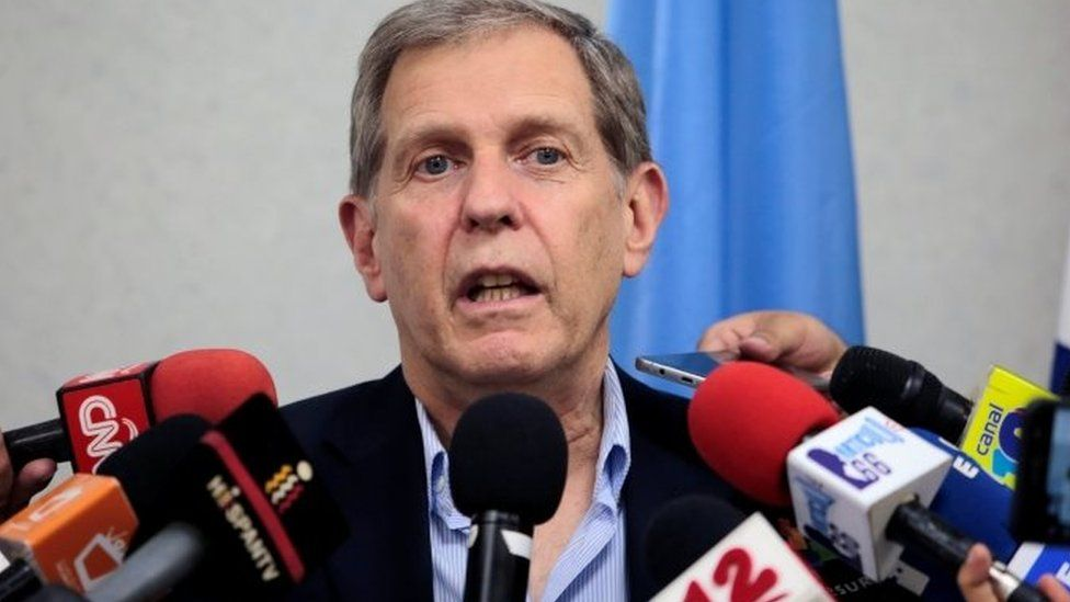 Guillermo Fernandez Maldonado, Coordinator of the Mission in Nicaragua for Central America of the United Nations High Commissioner for Human Rights (OHCHR) speaks during a news conference in Managua