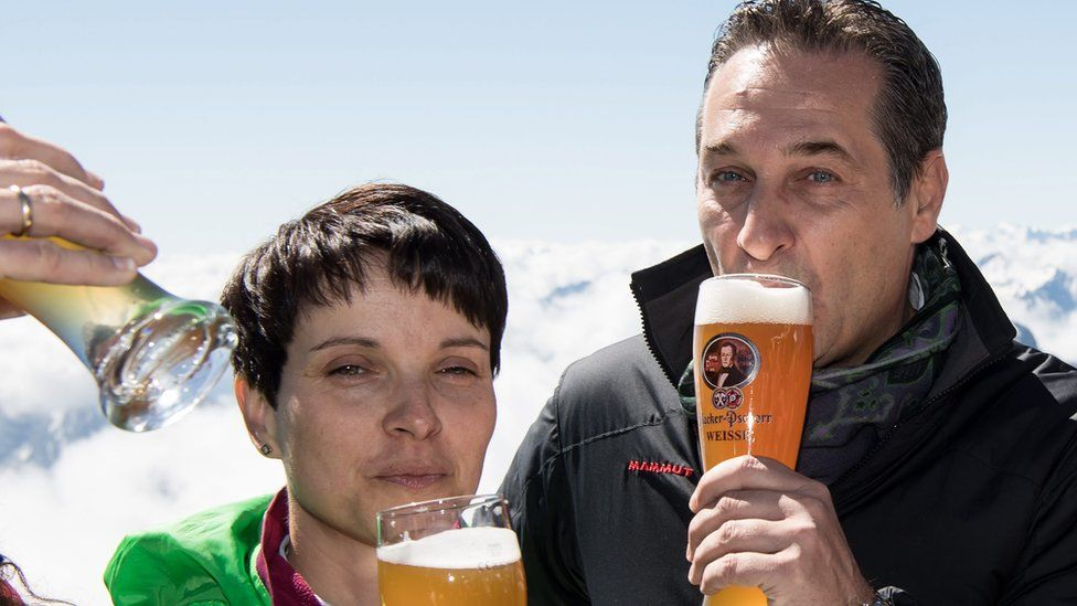 Alternative for Germany (AfD) leader Frauke Petry and Austrian Freedom Party (FPOe) leader Heinz Christian Strache on Zugspitze, 10 Jun 16
