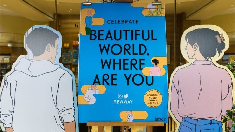 A bookshop display for Beautiful World, Where Are You (Sept 2021)