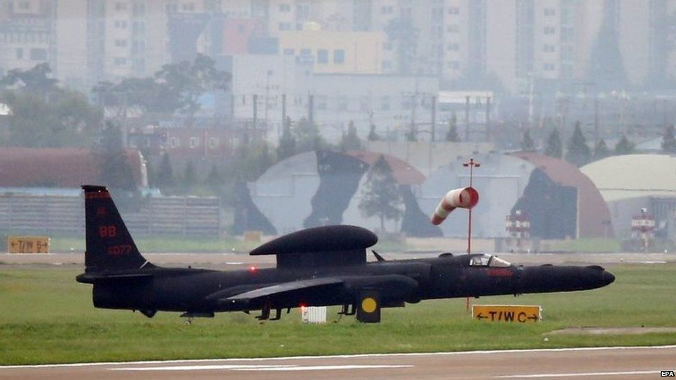A US high-altitude manned surveillance plane, the U-2, is ready to make a sortie form an airbase in the Seoul metropolitan area, South Korea (22 August 2015)
