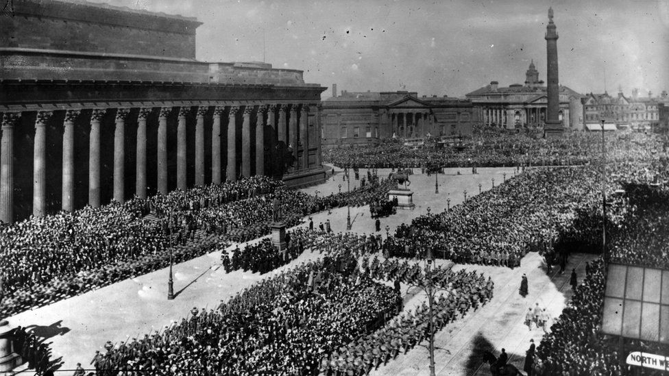 The parade of various sections of the New Army of 12,000 men outside St George's Hall