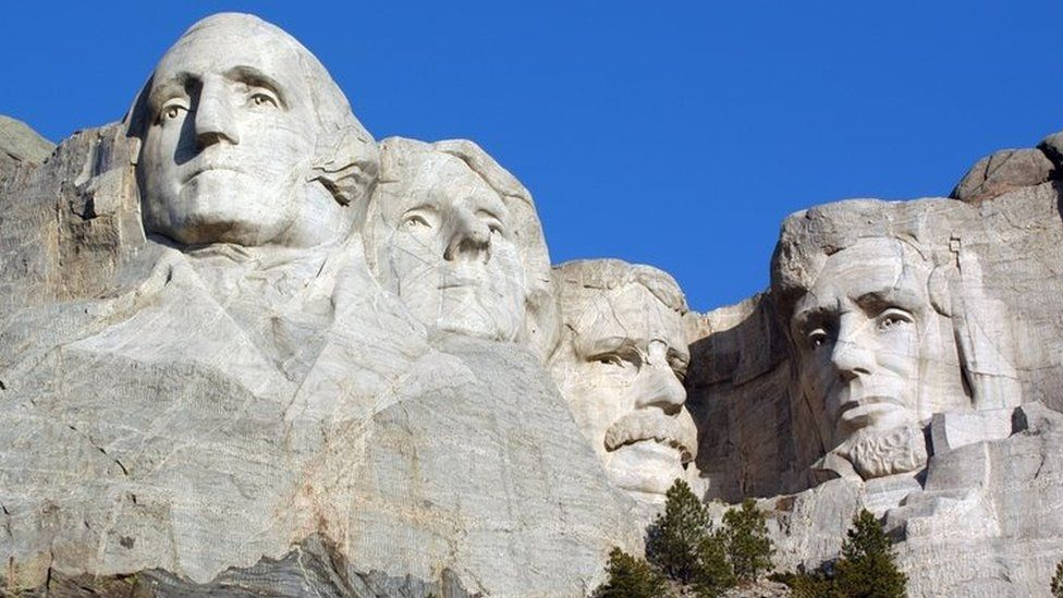 Washington, Jefferson, Roosevelt and Lincoln at Mt Rushmore in South Dakota