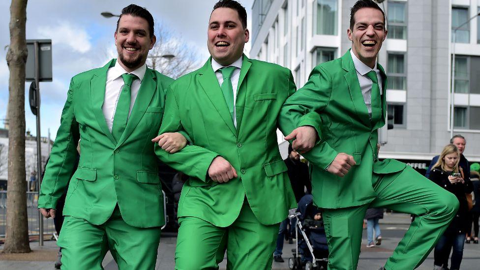 Three happy revellers in Dublin