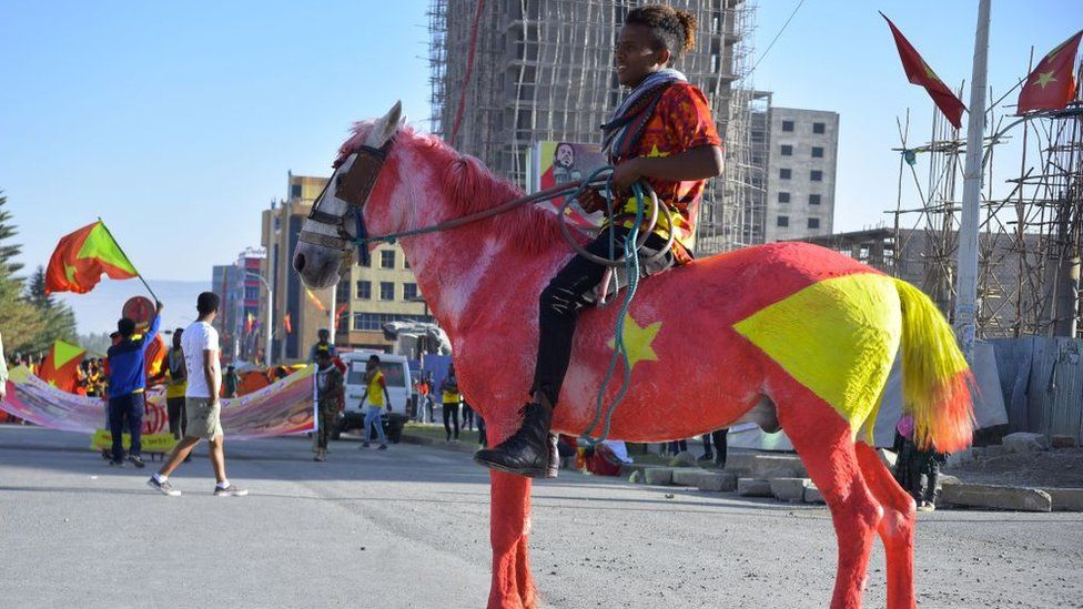 """A resident of Mekelle region rides a horse painted in the colours of the Tigray regional flag as they attend celebrations marking the 45th anniversary of the launching of the """"Armed Struggle of the Peoples of Tigray"""", on February 19, 2020, in Mekelle"""