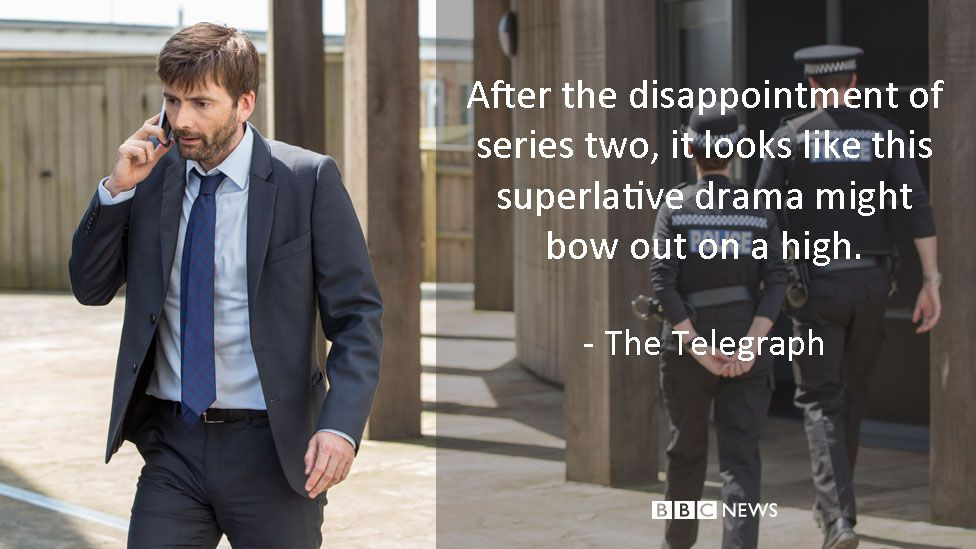 David Tennant in Broadchurch. The Telegraph review: After the disappointment of series two, it looks like this superlative drama might bow out on a high.