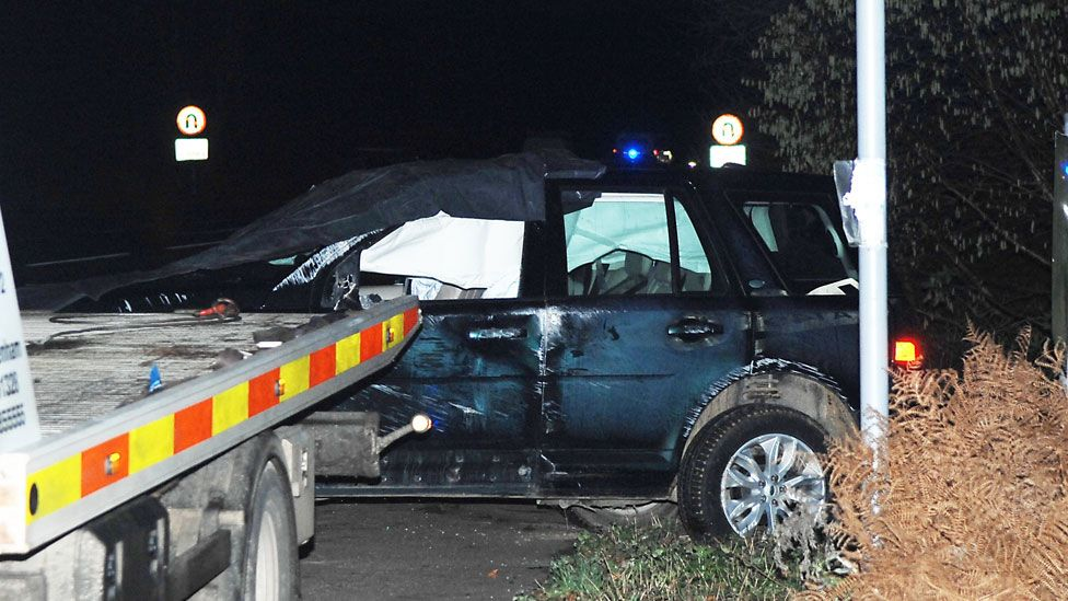The duke's car after it was involved in the crash