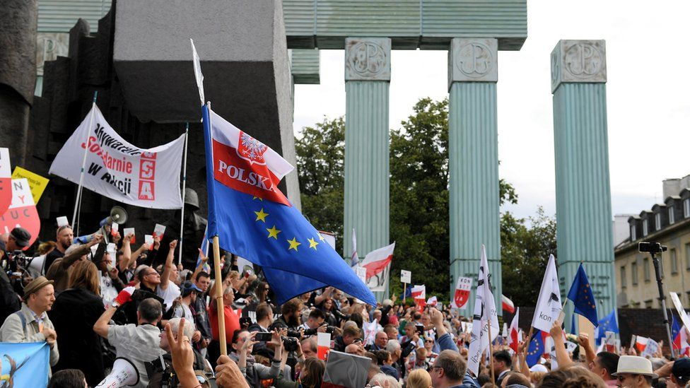 People gather in a protest organized by opponents of the judicial reform in front of the seat of the Supreme Court in Warsaw, Poland, 04 July 2018