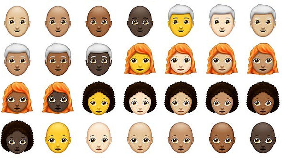 New emoji showing people with red hair, grey hair, curly hair and no hair