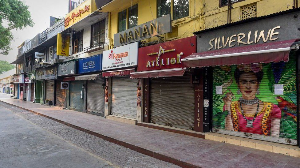 Deserted view of Khan Market during lockdown on April 29, 2020 in New Delhi, India.