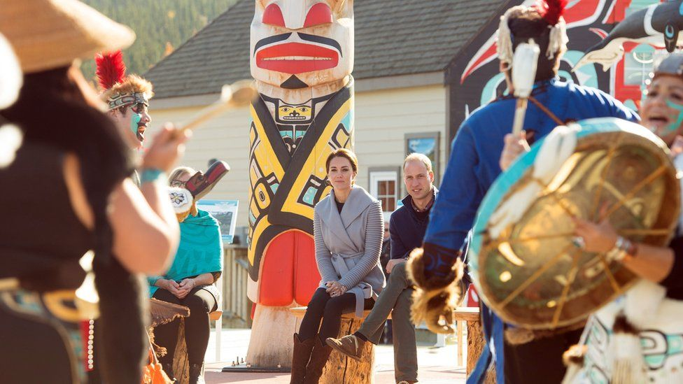 The Duke and Duchess of Cambridge are welcomed in the remote hamlet of Carcross in October 2016