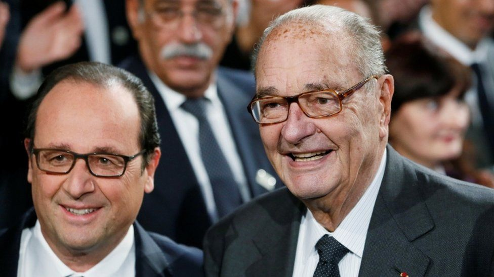 Chirac, pictured here with former President Francois Hollande