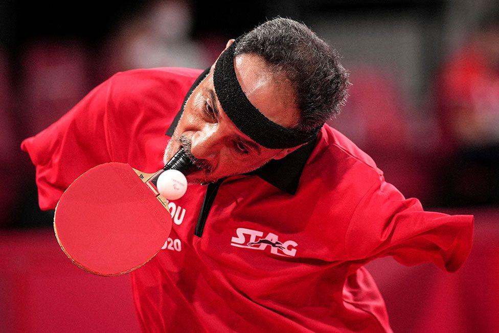 Egypt's Ibrahim Elhusseiny Hamadtou playing table tennis