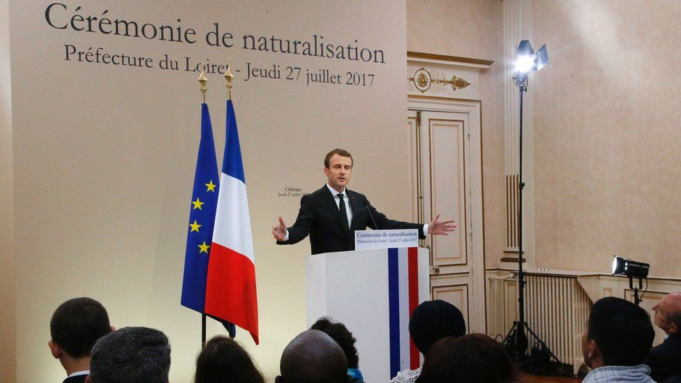 President Emmanuel Macron attending a citizenship ceremony in Orleans