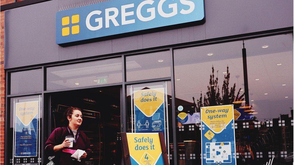 Greggs with customer