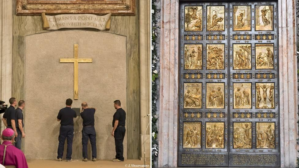 Workers reveal Holy Door of St Peter's Basilica. composite image