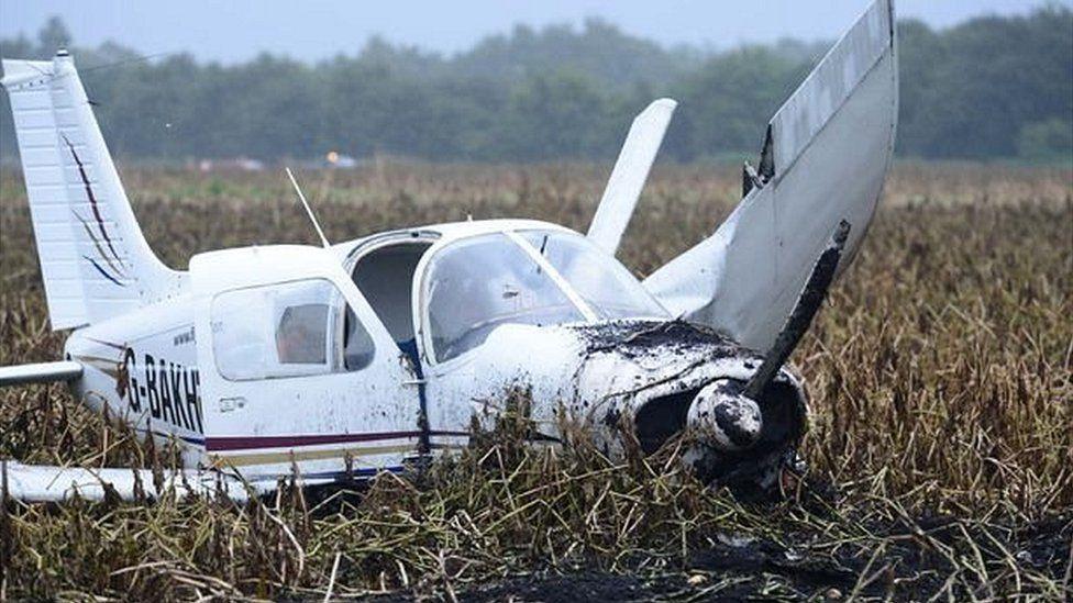 Crashed plane in potato field