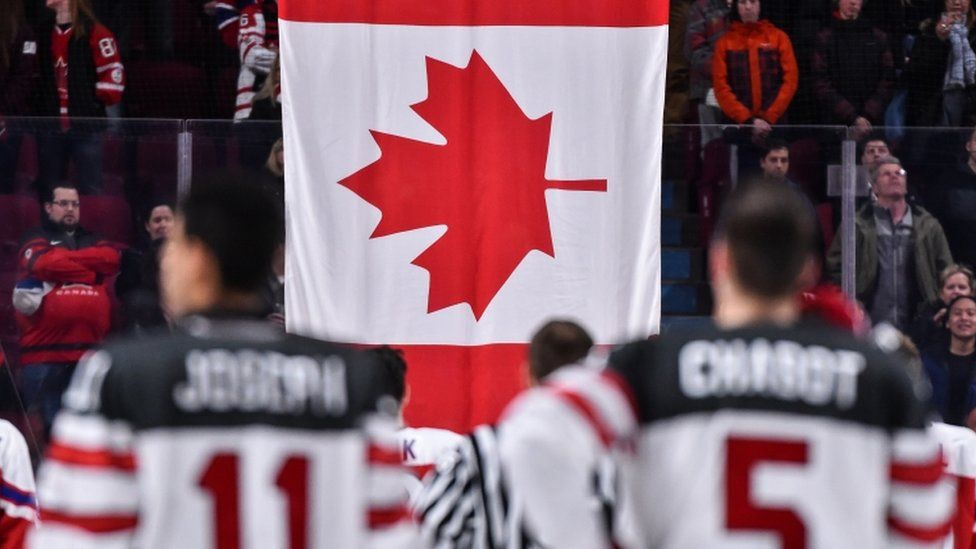 Canada flag and ice hockey team
