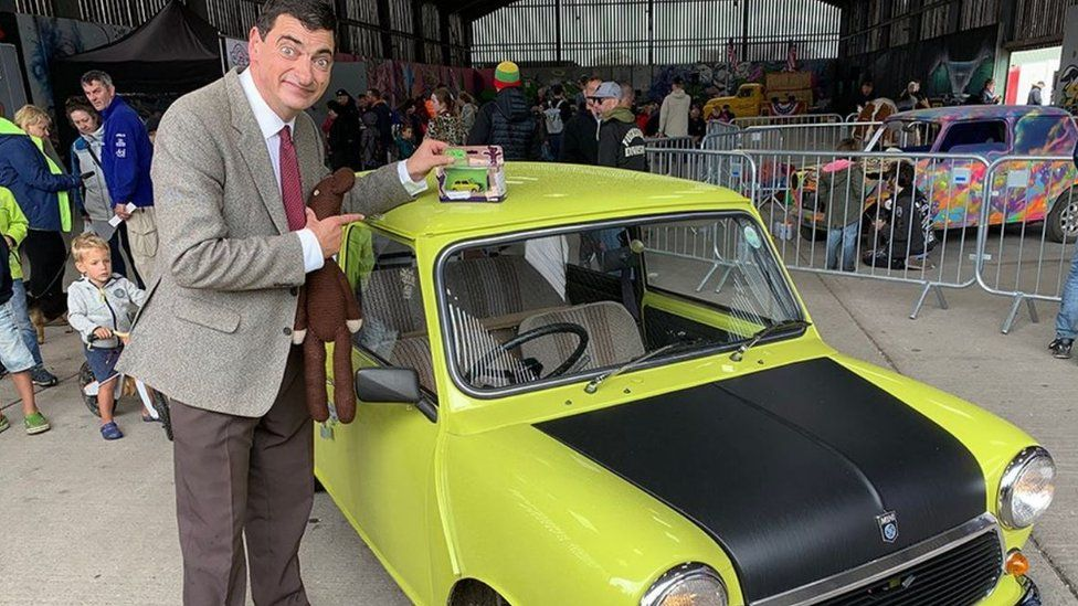 Mr Bean with full-size Mini and toy model