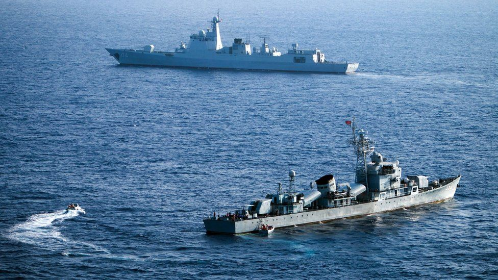China's South Sea Fleet taking part in a drill in the Xisha Islands, or the Paracel Islands in the South China Sea on 5 May 2016