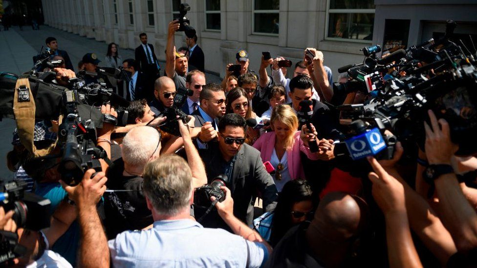 Emma Coronel Aispuro, walks out of Brooklyn Federal Court on July 17, 2019