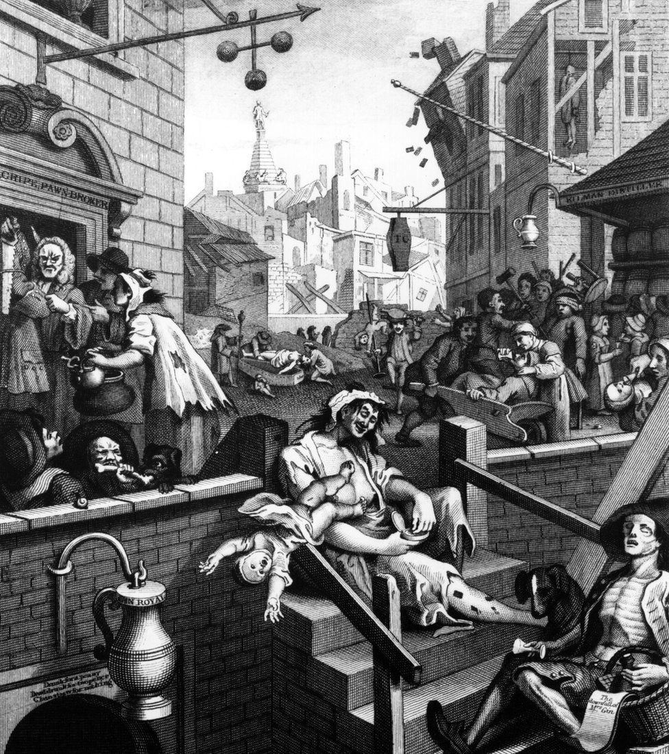 Scenes of debauchery and drunkenness in 'Gin Lane', one of two engravings entitled 'Beer Street' and 'Gin Lane' by William Hogarth, London, 1751. Original Artwork: Engraving by Adland after William Hogarth. (Photo by Three Lions/Getty Images