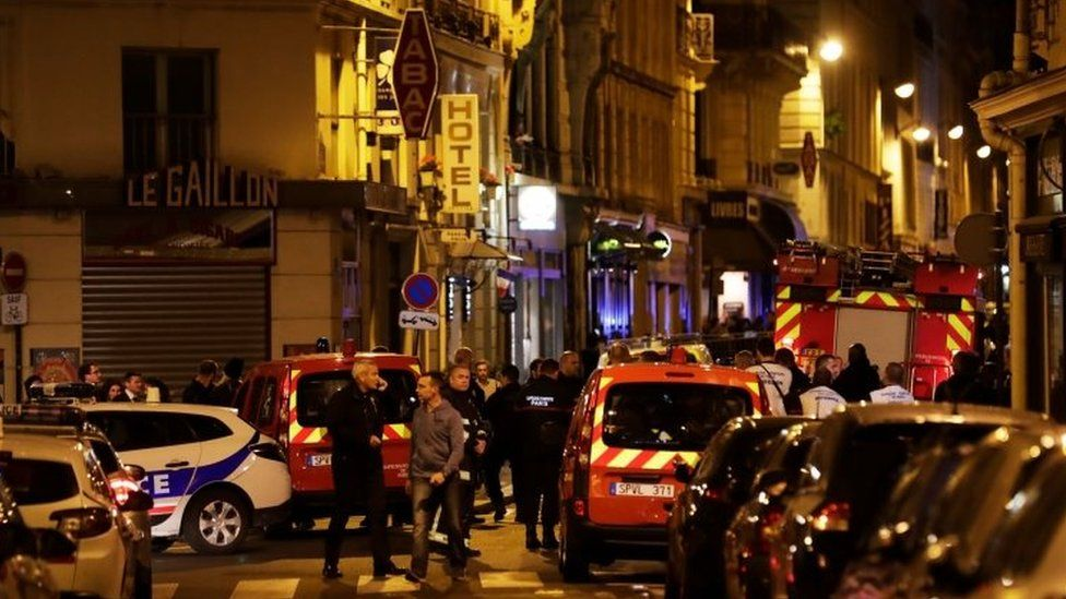 Police and emergency services at the scene of the attack in Paris, France. Photo: 12 May 2018