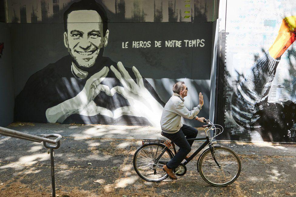 A graffiti of Alexei Navalny by Swiss artist Julien Baro is pictured ahead of the June 16 summit in the Swiss city between U.S. President Joe Biden and Russian President Vladimir Putin in Geneva, Switzerland, June 14, 2021
