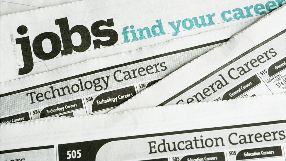 The jobs section of a newspaper