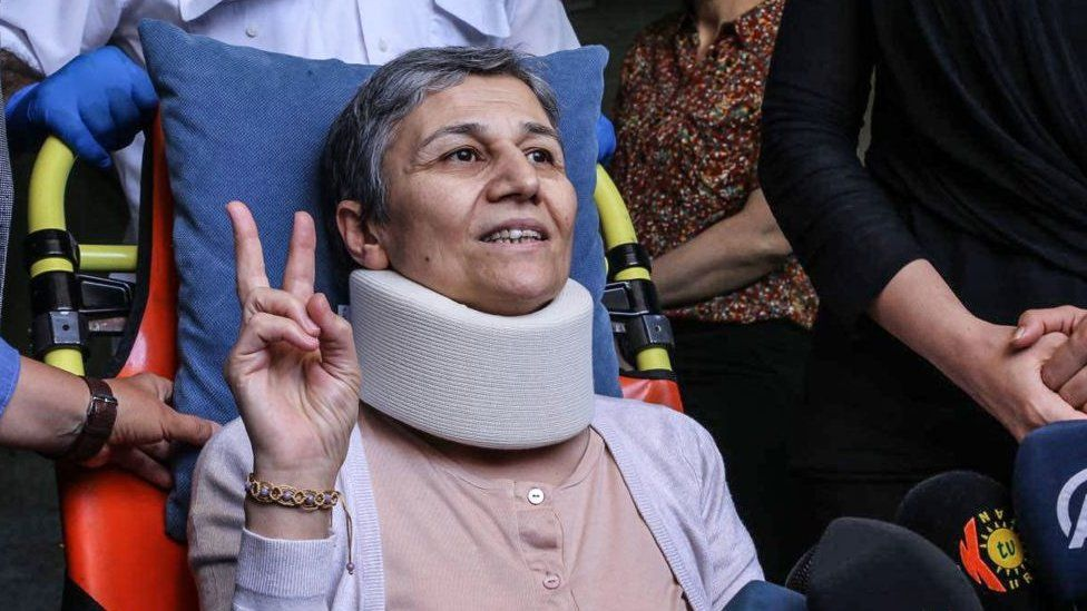 Leyla Güven leaves her home to go to a hospital on May 26, 2019 in Diyarbakir