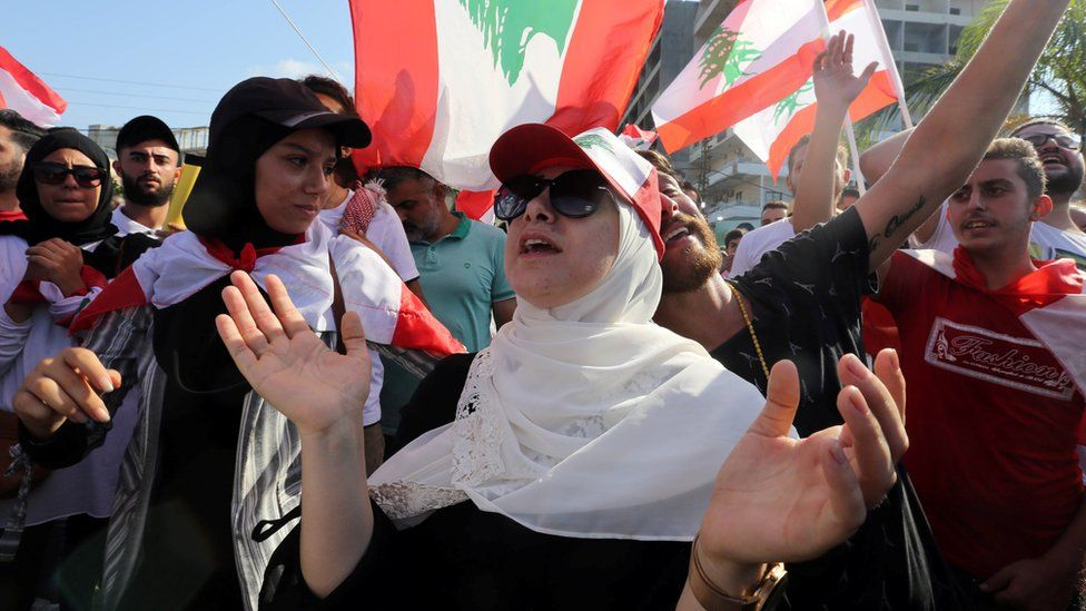 Demonstrators take part in an anti-government protest in the southern city of Tyre, Lebanon, 21 October, 2019.