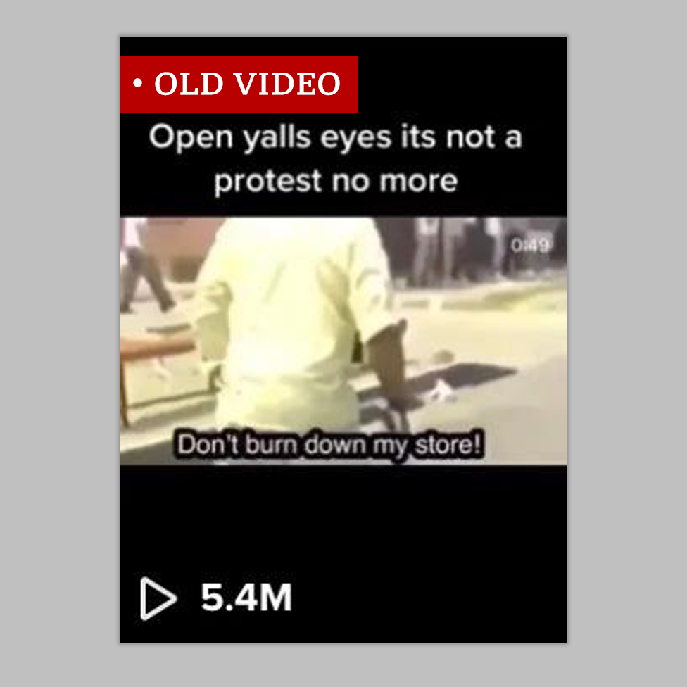 """Screenshot labelled """"old video"""" of a man quoted saying """"Don't burn down my store"""" and the clip is captioned """"Open yalls eyes its not a protest no more"""". The clip is from the US riots of 1992."""