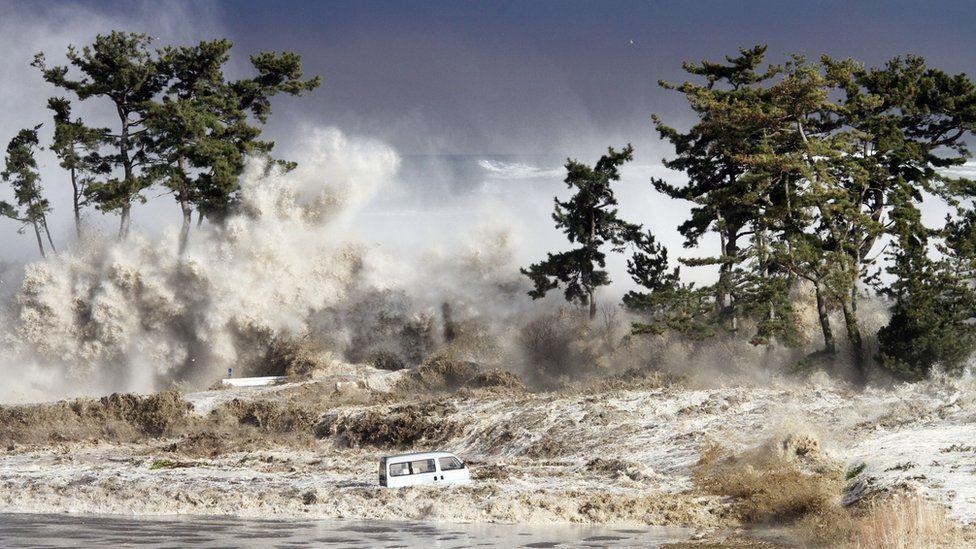 Tsunami waves hitting the coast of Minamisoma in Fukushima prefecture on 11 March 2011