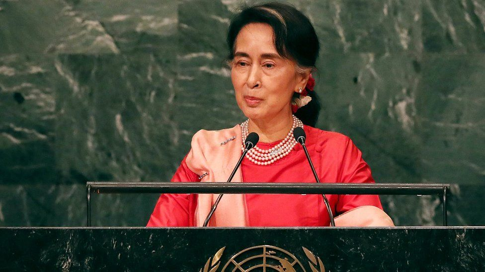 Myanmar's de facto leader Aung San Suu Kyi addresses the General Assembly at the United Nations in New York City, 21 September 2016