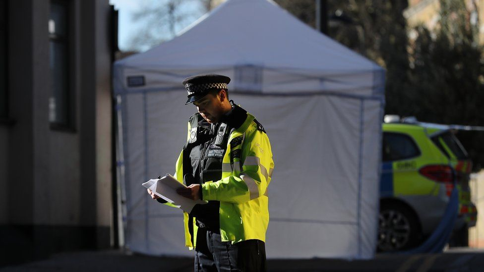 A forensic tent in Hackney