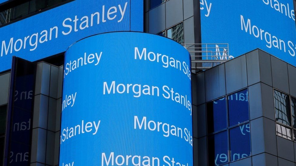 A sign is displayed on the Morgan Stanley building in New York.