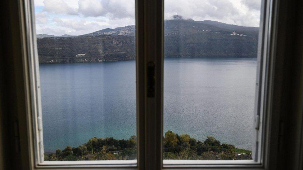 Window overlooking lake Albano