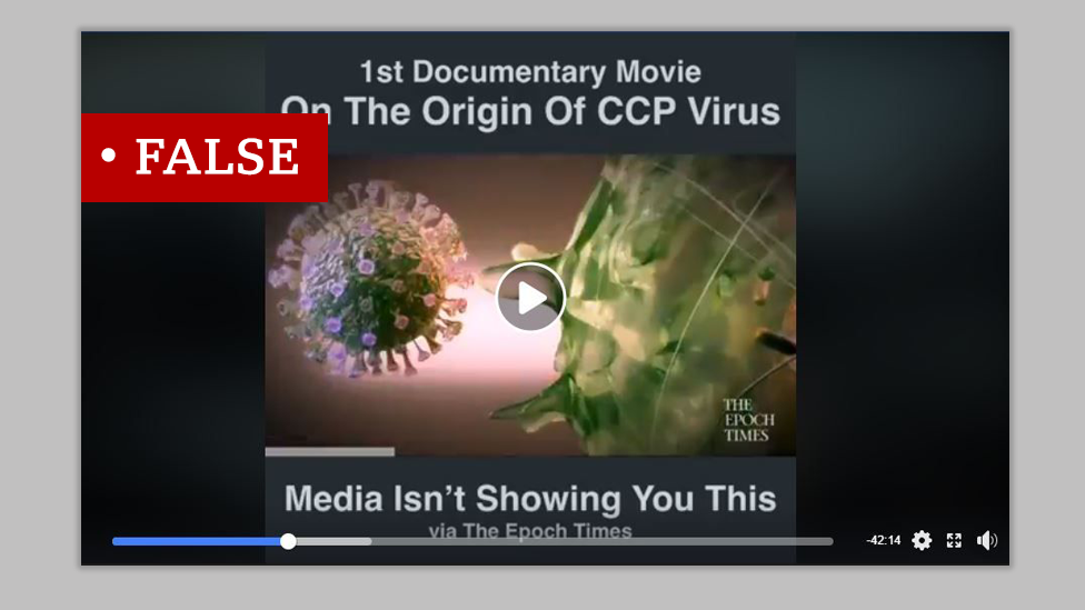 "Screenshot of graphic advertising the Epoch Times documentary on the ""origin of the CCP Virus"". We added ""False"" label to the graphic."