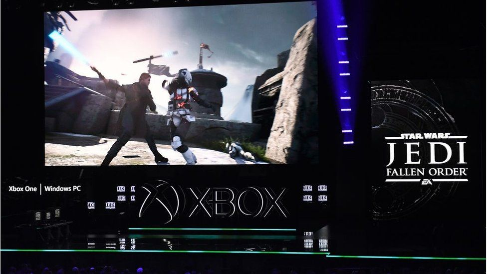 """The new video game """"Star Wars: Jedi Fallen Order"""" is promoted at the Microsoft Xbox press event."""