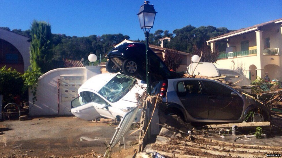 Anna Maj took this picture of the damage in Biot, France