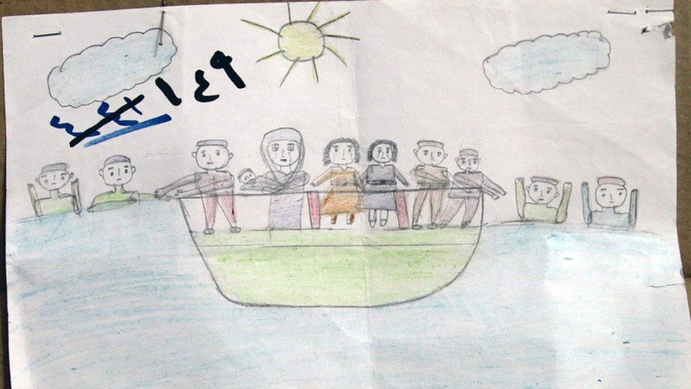 A drawing of a Syrian refugee boy shows a boat in the sea with a group of people on board and others in the water around.