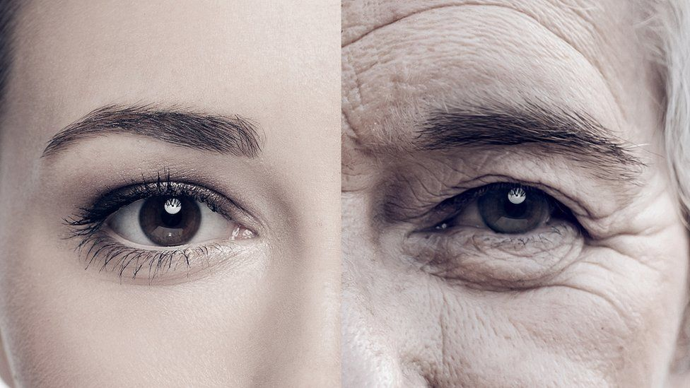 Image of a woman both young and old