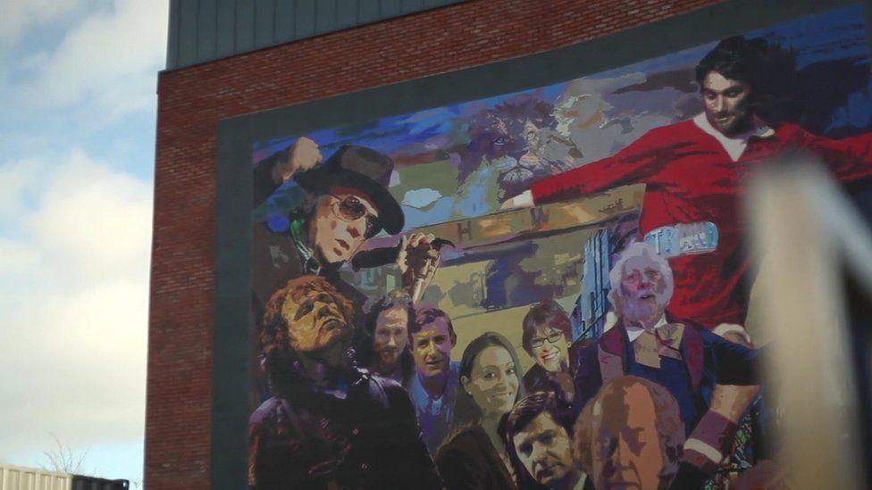 A mural in east Belfast featuring Van Morrison and George Best