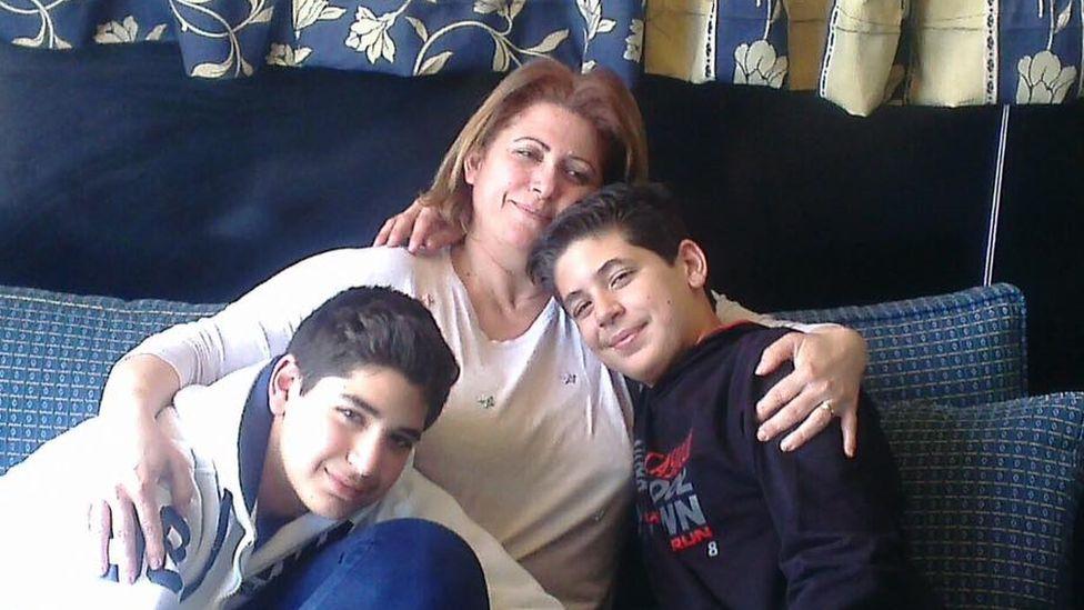 Majeda Khoury with her sons Hadi and Karim